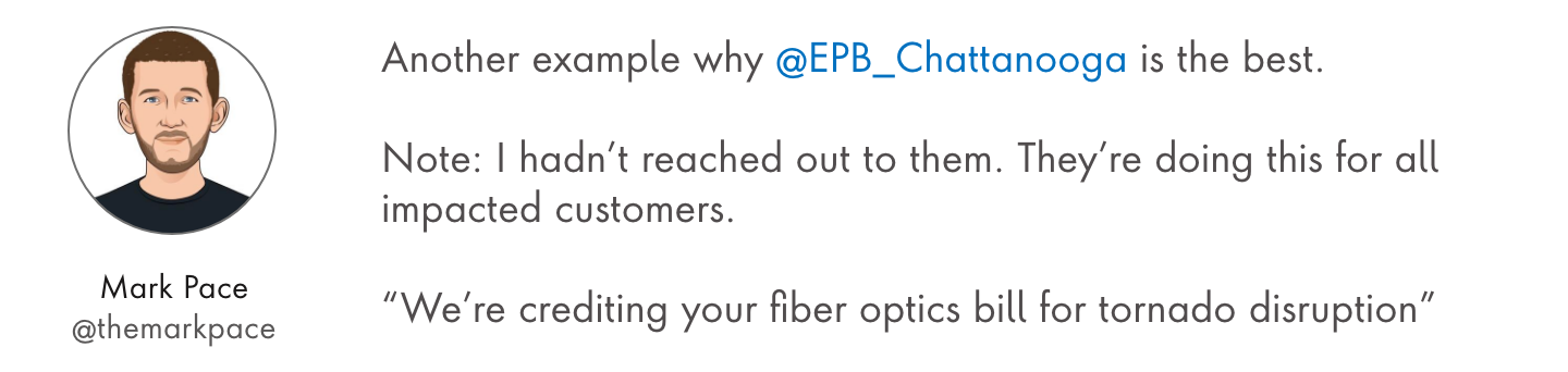 Customer Tweet stating positive things about EPB
